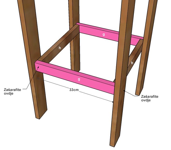 Spojite zadnji dio rama za noge sa nogama stolice ali i sa prethodno postavljenim dijelom rama.