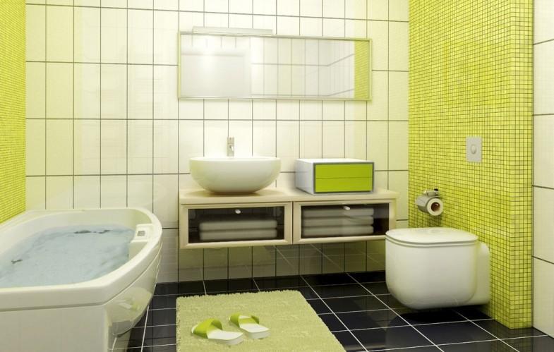 Zelena u kupatilu, koristite svijetlo limeta zelenu ili tamnu jabuka zelenu.