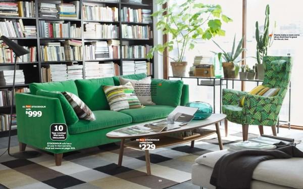 ikea zelena dnevna soba
